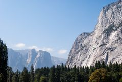 El Capitan in Yosemite National Park, sitting above the forest tops royalty free stock image