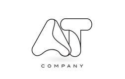 Al contorno del profilo di Logo With Thin Black Monogram della lettera del monogramma Immagini Stock Libere da Diritti