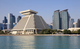 Al Dafna del districto del downttown de Doha fotos de archivo