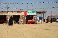 Al Dhafra Camel Festival in Abu Dhabi. ABU DHABI, UNITED ARAB EMIRATES - DEC 27, 2015: Market with traditional Emirate craft products at Al Dhafra Festival in Al stock photography