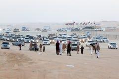 Al Dhafra Camel Festival i Abu Dhabi Arkivfoton