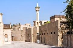 Al Fahidi历史邻里区( Al Bastakiya)在迪拜,阿拉伯联合酋长国 免版税图库摄影