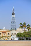 Al Faisaliah Tower in Riyadh. With some palm trees Stock Images