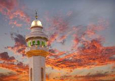 Al Fateh Mosque Minaret on dramatic cloud at sunset Royalty Free Stock Photography