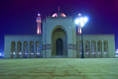 Al-Fateh Mosque at night. A view of the Al-Fateh Mosque in Bahrain at night Royalty Free Stock Photo