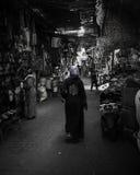 Al Fna Jemaa рынка Marrakech черно-белое Стоковое Изображение