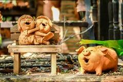 Al forno, bambino, bambola, sorridente, statua immagine stock libera da diritti