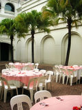 Al fresco dining. In the courtyard, with palm trees royalty free stock images