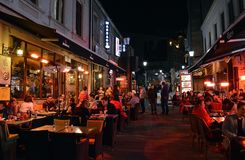 Al fresco dining, night time in the Old Townn, Bucharest, Romania stock images