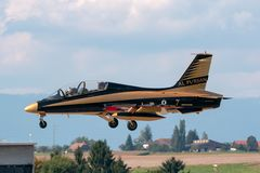 Al Fursan Aerobatic team from the United Arab Emirates Air Force flying Aermacchi MB-339 jet training aircraft. Payerne, Switzerland - September 5, 2014: Al stock photography