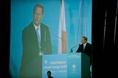 Al Gore que habla en la cumbre del clima de la O.N.U fotografía de archivo libre de regalías