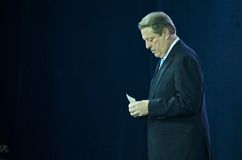 Al Gore vor einer Rede auf Klima-Änderung Lizenzfreie Stockfotos