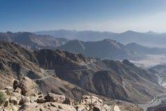 Al Hada Mountain na cidade de Taif, Arábia Saudita com vista bonita da estrada das montanhas e do Al Hada entre as montanhas Fotografia de Stock