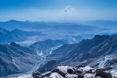 Al Hada Mountain in Taif City, Saudi Arabia with Beautiful View of Mountains and Al Hada road inbetween the mountains. Al Hada Mountain in Taif City, Saudi Stock Photos