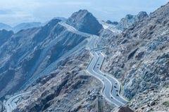 Al Hada Mountain in Taif-Stadt, Saudi-Arabien mit schöner Ansicht der Gebirgs- und Al Hada-Straße zwischen den Bergen Stockfotografie