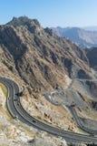 Al Hada Mountain in Taif-Stadt, Saudi-Arabien mit schöner Ansicht der Gebirgs- und Al Hada-Straße zwischen den Bergen lizenzfreie stockfotografie