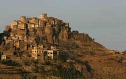 Al Hajjara da aldeia da montanha, Yemen Fotos de Stock