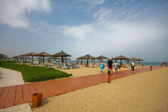 Al Hamra Fort-Hotel u. Strandurlaubsort Lizenzfreie Stockbilder