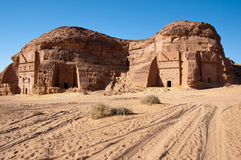 Al Hijr考古学站点Madain萨利赫在沙特阿拉伯 免版税库存照片