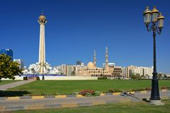 Al Ittihad Park and King Faisal mosque in Sharjah Stock Photography