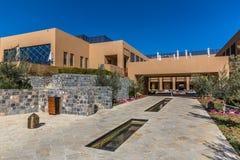 Al Jabal, Oman - Feb 15th 2018 - The unique Anantara hotel in Al Jabal, three horus of Mascat, Oman capital in a blue sky day. Lux royalty free stock photos