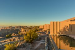 Al Jabal, Oman - Jan 22nd 2018 - The view of the canions from a hotel room in Oman stock photos