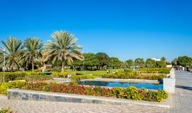 Al Jahli Park i Al Ain, Förenade Arabemiraten royaltyfri bild