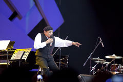 Al Jarreau in concert. Seven-time Grammy Award winner American jazz singer Al Jarreau in concert at the  Java Jazz Music Festival, Jakarta - Indonesia. March 4 Royalty Free Stock Photography