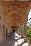 Al Jazzar Mosque in the old city of Acre, Israel. Courtyard in the Jezzar Pasha Mosque, also known as the White Mosque in Acre, Israel stock images