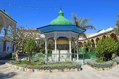 Al Jazzar Mosque in the old city of Acre, Israel. Courtyard in the Jezzar Pasha Mosque, also known as the White Mosque in Acre, Israel stock photo