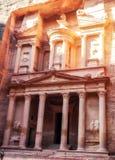 Al Khazneh - казначейство, древний город Petra, Джордан Стоковое Изображение RF