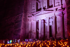 Al Khazneh in the ancient  city of Petra in Jordan at night ligh Royalty Free Stock Photography