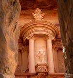Al Khazneh of de Schatkist bij Petra, Jordanië stock afbeeldingen