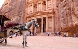 Al Khazneh of de Schatkist bij Petra, Jordanië royalty-vrije stock afbeeldingen