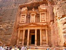 Al Khazneh in Petra in Jordanië Stock Afbeelding