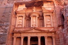 Al-Khazneh temple in Petra, Jordan. Al-Khazneh temple in the ancient Arab Nabatean Kingdom city of Petra, Jordan Stock Photos