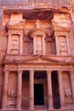 Al-Khazneh temple in Petra, Jordan. Al-Khazneh temple in the ancient Arab Nabatean Kingdom city of Petra, Jordan Stock Photo