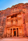 Al Khazneh temple in Petra. UNESCO world heritage site Royalty Free Stock Photo