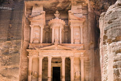 Al-Khazneh temple - The Treasury - in Arab Nabatean Kingdom city of Petra. Front view of facade of Al-Khazneh temple - The Treasury - in Arab Nabatean Kingdom Stock Image