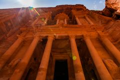 Al Khazneh - the treasury, ancient city of Petra, Jordan. Stock Photos