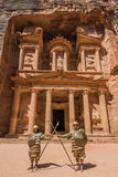Al Khazneh or The Treasury in nabatean city of  petra jordan Royalty Free Stock Photo