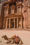 Al Khazneh or The Treasury in nabatean city of  petra jordan Royalty Free Stock Photo