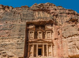 Al Khazneh or The Treasury in nabatean city of  petra jordan Royalty Free Stock Image