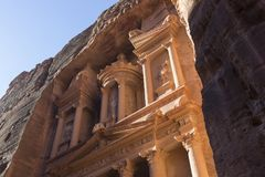 Al Khazneh or The Treasury at Petra, Jordan. It is a symbol of Jordan, as well as Jordan`s most-visited tourist attraction royalty free stock image