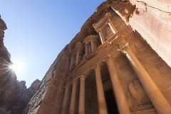 Al Khazneh or The Treasury at Petra, Jordan. It is a symbol of Jordan, as well as Jordan`s most-visited tourist attraction stock photo