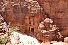 Al-Khazneh `The Treasury` in Petra, Jordan. Scenic Bird`s-Eye View Al-Khazneh `The Treasury` in Petra, Jordan Royalty Free Stock Photos