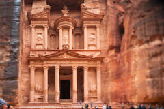 Al Khazneh or The Treasury at Petra, Jordan. Tilt - shift photography by PC-E nikkor 24mm Stock Photography