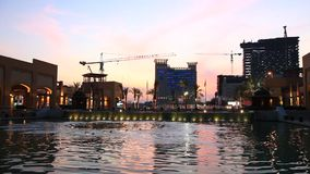 Al Kout Mall in Kuwait at dusk stock video