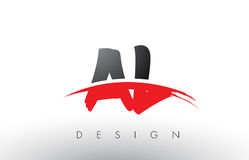 AL A L Brush Logo Letters with Red and Black Swoosh Brush Front Stock Photography