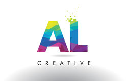 AL A L Colorful Letter Origami Triangles Design Vector. Royalty Free Stock Image